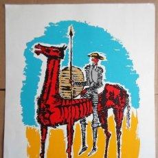 Arte: RAMÓN LAPAYESE (MADRID 1928-FLORIDA 94) QUIJOTE SERIGRAFIA 39X55 EN PAPEL DE 48X65C FIRMA 1982 Y PA. Lote 268891794