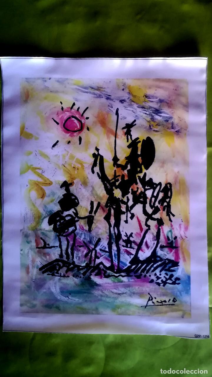 Arte: Obra Pablo Picasso, Don Quijote y Sancho , Screenprint, Serigrafia sobre Lona lienzo,Tamaño 48 x 37 - Foto 2 - 272512758