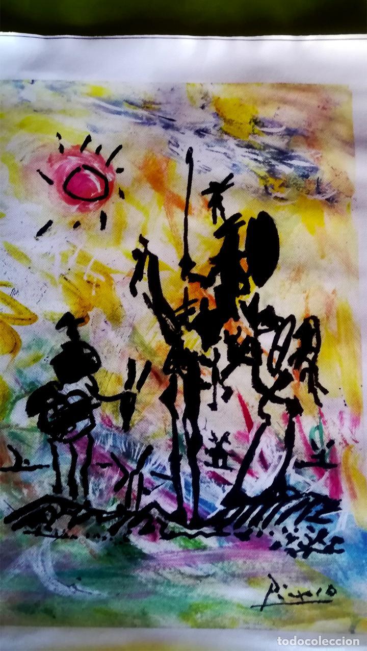 Arte: Obra Pablo Picasso, Don Quijote y Sancho , Screenprint, Serigrafia sobre Lona lienzo,Tamaño 48 x 37 - Foto 3 - 272512758