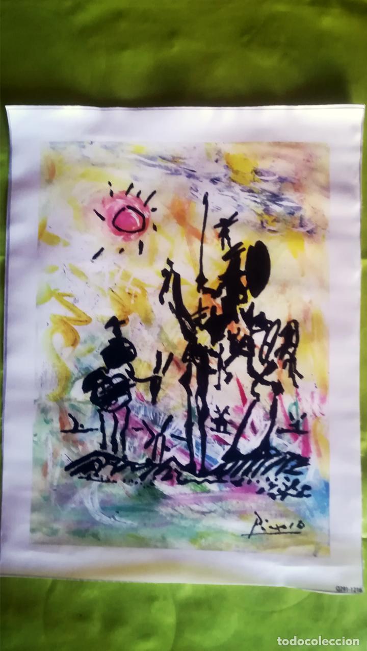 OBRA PABLO PICASSO, DON QUIJOTE Y SANCHO , SCREENPRINT, SERIGRAFIA SOBRE LONA LIENZO,TAMAÑO 48 X 37 (Arte - Serigrafías )