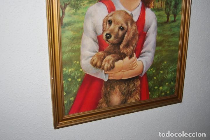 Arte: INCREÍBLE LITOGRAFÍA SOBRE TABLEX - NIÑA CON PERRO Y PÁJARO PASEANDO POR EL CAMPO - AÑOS 50 - Foto 8 - 272582178