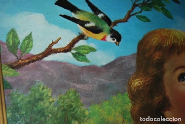 Arte: INCREÍBLE LITOGRAFÍA SOBRE TABLEX - NIÑA CON PERRO Y PÁJARO PASEANDO POR EL CAMPO - AÑOS 50 - Foto 9 - 272582178