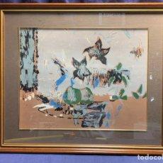Arte: SERIGRAFIA COMPOSICION CON FLORES FIRMA GUIJARRO ANTONIO CIUDAD REAL 51X60CMS. Lote 273167368