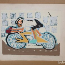 Arte: JOSE DE LA PUERTA SALAMANCA (1916) SERIGRAFIA CON TIRAJE 26/50 FECHADA DEL AÑO 1995. CICLISTA. Lote 286598048