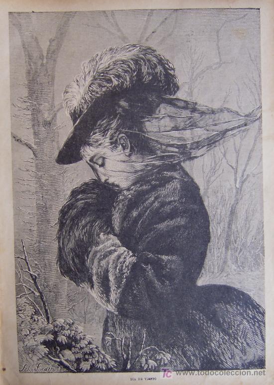 DIA DE VIENTO. XILOGRAFIA ORIGINAL DE 1885 (Arte - Xilografía)