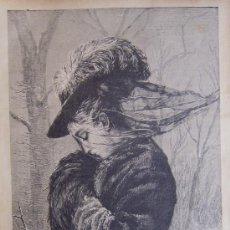 Arte: DIA DE VIENTO. XILOGRAFIA ORIGINAL DE 1885. Lote 27566532