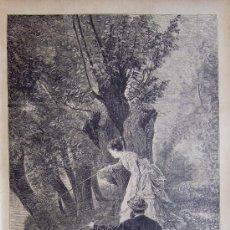 Arte: PESCANDO (CUADRO DE RUDAUX). XILOGRAFIA ORIGINAL DE 1885. Lote 24666377