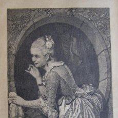 Arte: LA SEÑAL (CUADRO DE HEÑÑWIG). XILOGRAFIA ORIGINAL DE 1885 . Lote 96465254