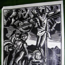 Arte: CALVARIO. XILOGRAFÍA DE AGUSTÍN PORTELA PARA SPES. TIPOGRAFÍA PEON. PONTEVEDRA. 29 X 21 CM. C.. Lote 26942910