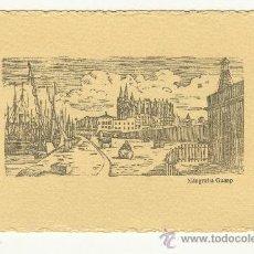 Arte: BONITA Y ANTIGUA XILOGRAFÍA IMPRENTA GUASP PALMA DE MALLORCA. MIDE 15 POR 9 CENTÍMETROS.. Lote 227845415