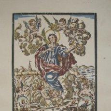 Arte: XILOGRAFÍA DE SANTA TECLA. COLOREADA A MANO, PAPEL GUARRO. AÑOS 40.. Lote 26261579