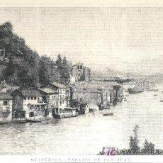 Arte: XILOGRAFIA - GUIPUZCOA, PAISAJES DE SAN JUAN (1896). Lote 26619582