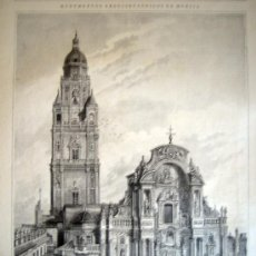 Arte: XILOGRAFIA - MURCIA, LA CATEDRAL, PORTICO DE LA FACHADA Y TORRE (1885). Lote 26628425