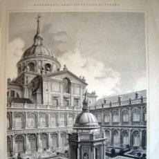 Arte: XILOGRAFIA - EL ESCORIAL, PATIO DE LOS EVANGELISTAS (1885). Lote 26229663