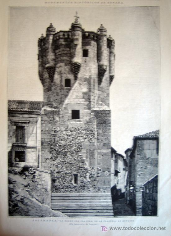 XILOGRAFIA - SALAMANCA, TORRE DEL CLAVERO (1885) (Arte - Xilografía)