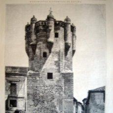 Arte: XILOGRAFIA - SALAMANCA, TORRE DEL CLAVERO (1885). Lote 26619589