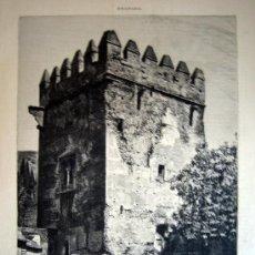 Arte: XILOGRAFIA - GRANADA, TORRE DE LOS PICOS (1885). Lote 26619608