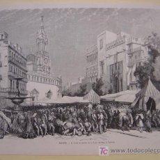 Arte: PRECIOSO GRABADO XILOGRAFIA DE LA PLAZA DEL MERCADO Y LA LONJA DE VALENCIA - AÑO 1873. Lote 26653585