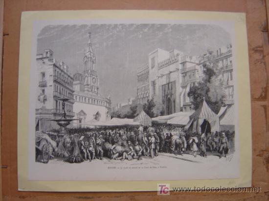 Arte: PRECIOSO GRABADO XILOGRAFIA DE LA PLAZA DEL MERCADO Y LA LONJA DE VALENCIA - AÑO 1873 - Foto 2 - 26653585