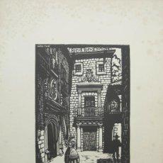 Arte: XILOGRAFÍA DE JOAN CASTELLS MARTÍ . PUEBLO ESPAÑOL. MONTJUICH . BARCELONA.. Lote 15999046
