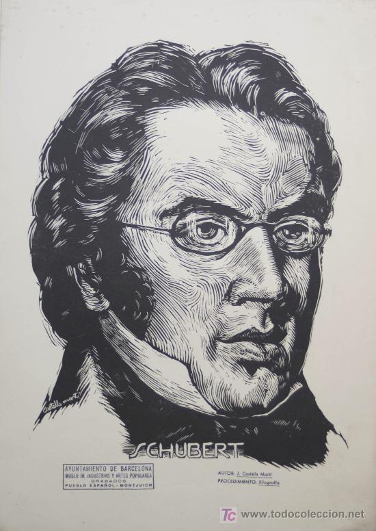 XILOGRAFÍA DE FRANZ SCHUBERT / JOAN CASTELLS MARTÍ . XILOGRAFÍA ¿ AÑOS 50-60 ? (Arte - Xilografía)