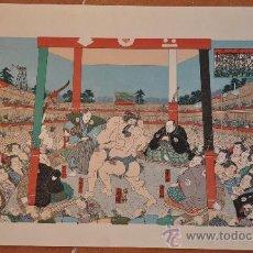 Arte: XILOGRAFIA DE UTAGAWA KUNISADA TOYOKUNI III LUCHA DE SUMO. Lote 21479851