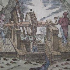 Arte: XILOGRAFÍA DE BOMBAS DE AGUA EN MINA DE AGRÍCOLA, 1557. Lote 21701273