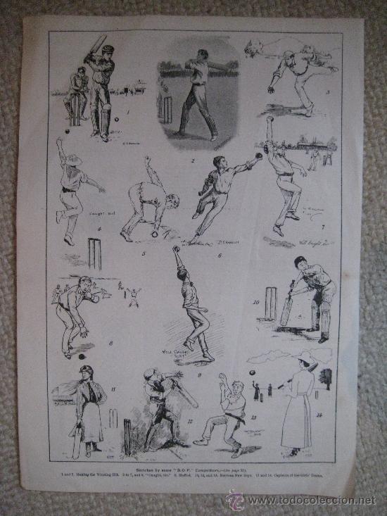 CRICKET. DEPORTE. XILOGRAFÍA CA. 1885 (Arte - Xilografía)