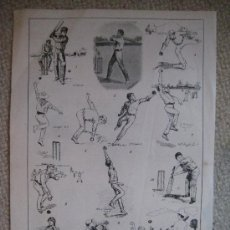 Arte: CRICKET. DEPORTE. XILOGRAFÍA CA. 1885. Lote 26079729