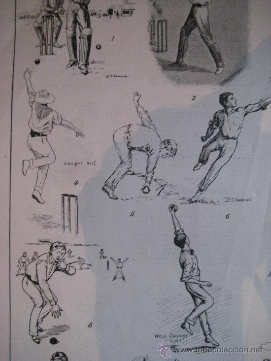 Arte: CRICKET. DEPORTE. Xilografía ca. 1885 - Foto 4 - 26079729