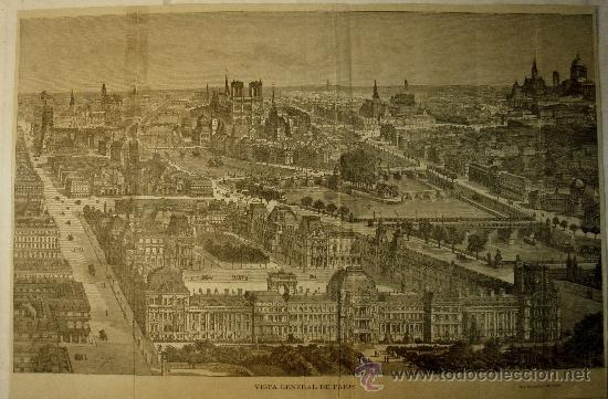 VISTA DE PARIS. XILOGRAFIA ANTIGUA DE SEGUNDA MITAD DEL XIX (Arte - Xilografía)