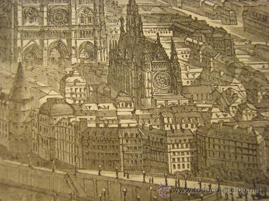 Arte: VISTA DE PARIS. XILOGRAFIA ANTIGUA DE SEGUNDA MITAD DEL XIX - Foto 3 - 26408798
