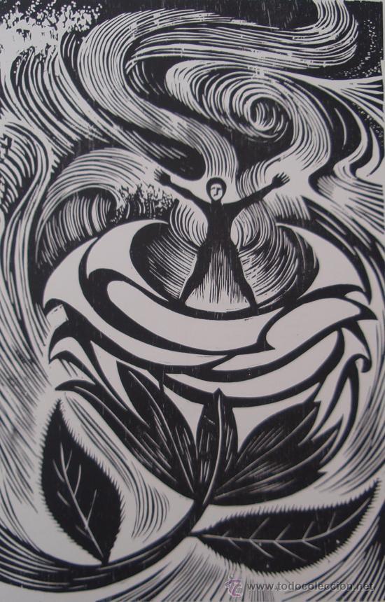 CASTRO COUSO 1979 - GRABADO XILOGRAFÍA - ROSALIA DE CASTRO. (Arte - Xilografía)