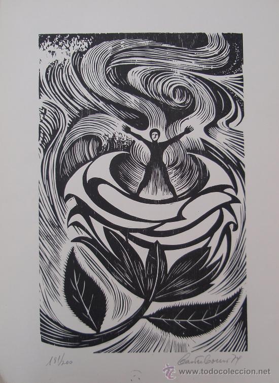 Arte: Castro Couso 1979 - Grabado Xilografía - Rosalia de Castro. - Foto 2 - 26866934