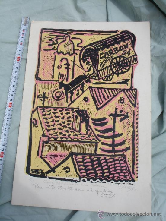 XILOGRAFIA ORIGINAL DEL PINTOR CUBANO ANTONIO CANET.SUPERFICIE GRABADA. (Arte - Xilografía)