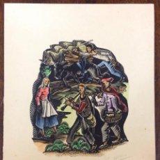 Arte: XILOGRAFÍA INÉDITA DE A. GELABERT. FELICITACIÓN DE NAVIDAD, 1962. POESIA DE JOAN ARÚS.. Lote 143691916