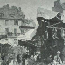 Arte: UNO DE LOS MERCADOS DE CAZA EN PARIS. GABRIEL GILBERT .1879. Lote 41429864