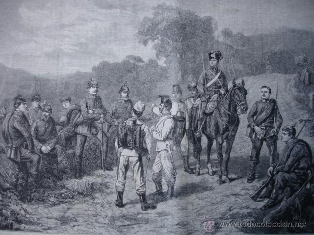 EXPLORADORES PRUSIANOS EN GRAVELOTTE GUERRA FRANCO PRUSIANA FRANCIA.1870 (Arte - Xilografía)