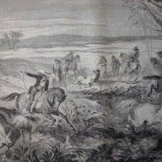 Arte: CAZA CABALLOS SALVAJES DARJOU.1870. Lote 43744934