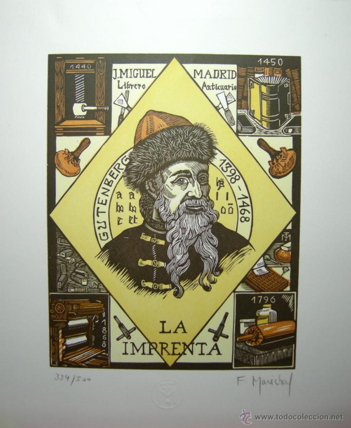 XILOGRAFIA CUATRO TINTAS FRANCOIS MARECHAL BISSSEY - LA IMPRENTA -NUMERADA, FIRMADA Y SELLADA (Arte - Xilografía)