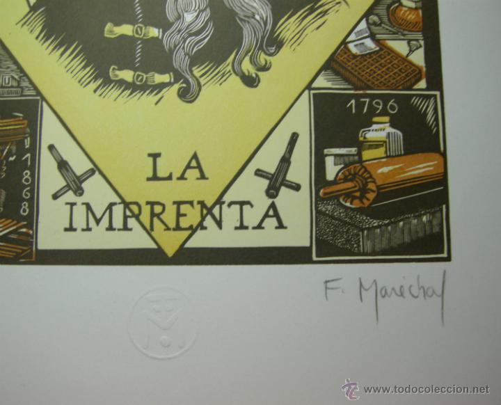 Arte: XILOGRAFIA CUATRO TINTAS FRANCOIS MARECHAL BISSSEY - LA IMPRENTA -NUMERADA, FIRMADA Y SELLADA - Foto 2 - 46188771