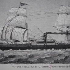 Arte: VAPOR EMILIANO DE LA CARRERA A FILIPINAS.MARINA .AÑO 1871. Lote 47570462