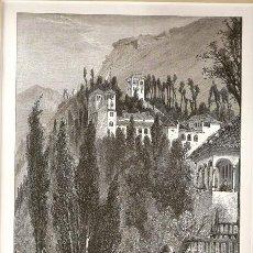 Arte: VISTA DEL GENERALIFE, LA ALHAMBRA, GRANADA. Lote 47604788