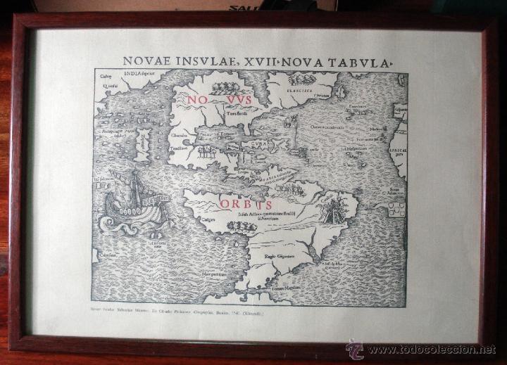 NOVAE INSULAE ANTIGUA REPRODUCCIÓN DE LA XILOGRAFÍA ORIGINAL ENMARCADA BONITA PIEZA (Arte - Xilografía)