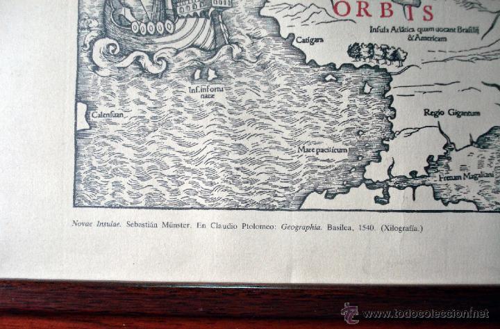 Arte: NOVAE INSULAE ANTIGUA REPRODUCCIÓN DE LA XILOGRAFÍA ORIGINAL ENMARCADA BONITA PIEZA - Foto 3 - 47619529