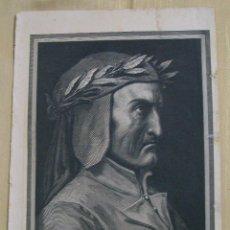 Arte: RETRATO DE DANTE ALIGHIERI POR DORÉ MONTANER Y SIMÓN 1870 . Lote 47961992