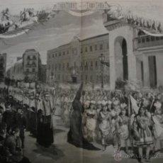 Arte: SEVILLA.SEMANA SANTA VIERNES SANTO EL SANTO ENTIERRO EN LA PLZA SAN FRANCISCO.AÑO 1878.33X46. Lote 54718712