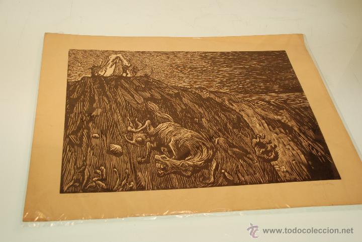 XILOGRAFÍA - REPRESENTA LA LEYENDA DE LA DONCELLA DE BUERA - MEDIDA: 50X39 - FIRMADA Y NUMERADA - (Arte - Xilografía)