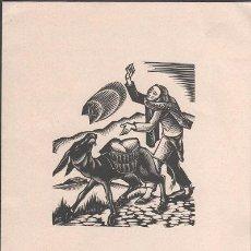 Arte: L28-5 XILOGRAFIA DE A. GELABERT EN FELICITACION CON POESÍA ORIGINAL DE ANTONI CLOSAS DEL AÑO 1970 -. Lote 48672814
