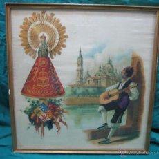 Arte: PAÑOLETA ANTIGUA PINTADA EN SEDA DE LA VIRGEN DEL PILAR ZARAGOZA. M 38X39 CM. Lote 49714882